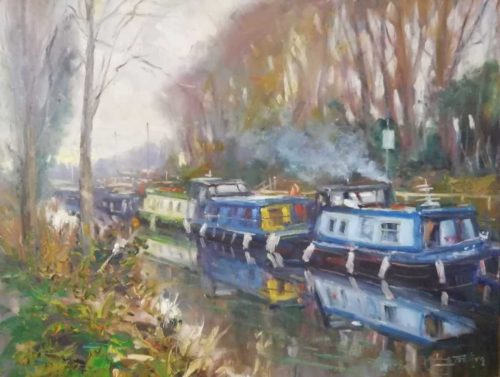 Barges Sallins Landscape Painting by artist Norman Teeling