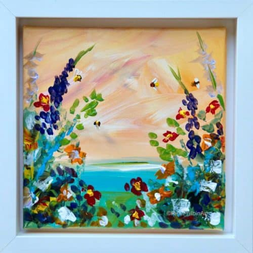 'Garden Buzzing with Bees' Original painting of a warm Irish garden buzzing with bees.