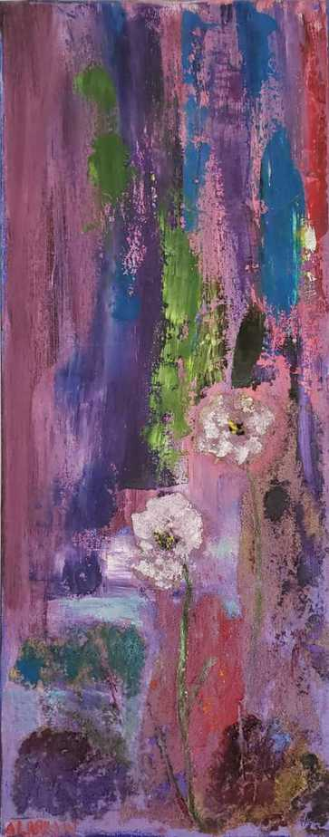 A Little Surprise Abstract Floral painting by artist Angela Larkin