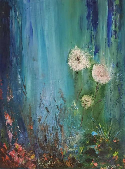 Fluff Abstract Floral painting by artist Angela Larkin