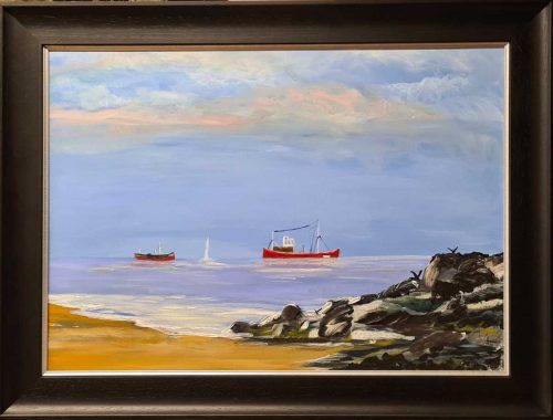 Clogherhead County Louth Seascape Painting by Irish artist Kathleen Sheils
