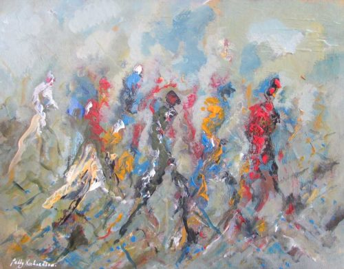 Heading to the Big Game Abstract Art