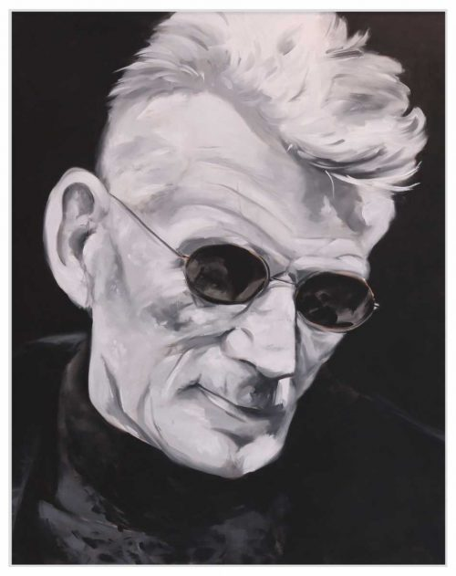 painting of Samuel Beckett Black Spectacles