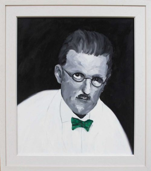 painting of Joyce With Green Bow Tie