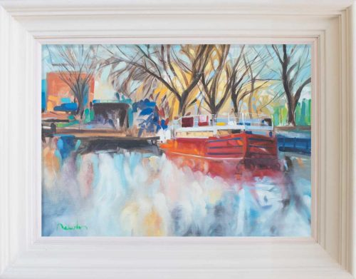 painting of Grand Canal Boat in Autumn Light