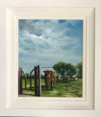 Painting of Cows and Stile