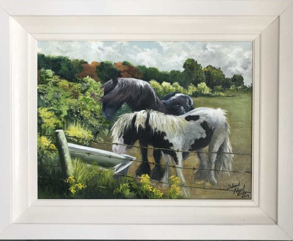 painting of Horses drinking