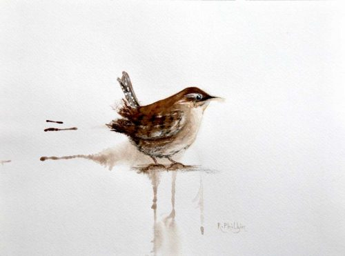 painting of a Happy Wren