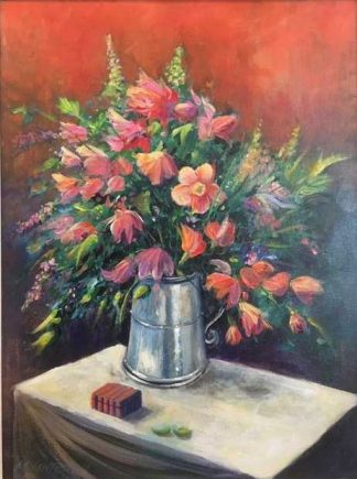 painting of flowers in a Silver Jug
