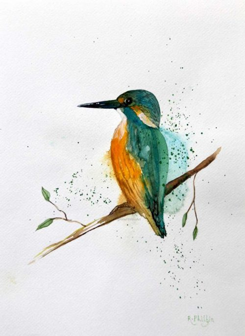 painting of a Relaxing Kingfisher