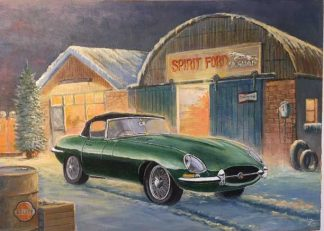 painting of an E Type Jag