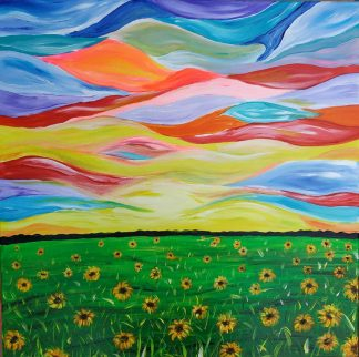 The meadow Original bright landscape painting to suit any room. This piece of art is painted at the sides so a frame is not necessary.