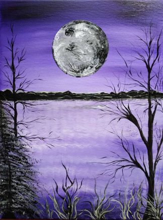 Full Moon Beautiful painting for sale of a full moon over the sea. Stunning original lilac art to suit any room in your home