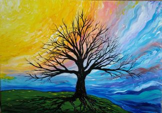 Tree of Life Original painting for sale in online gallery. Sunset over the tree of life. Buy art for your home, browse a large selection of paintings here
