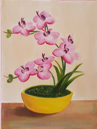 Oil painting of pink orchids by artist Leila Keshavarz. Art for sale in online art gallery- a variety of art to choose from