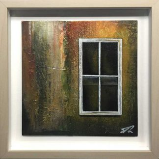 Window 1 Textured, abstract painting. Cardboard, newsprint and oils on panel. 25cm x 25cm. Framed and ready to hang. Art for sale