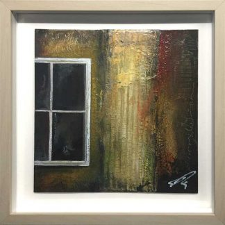 Window 3 Textured, abstract painting. Cardboard, newsprint and oils on panel. 25cm x 25cm. Framed and ready to hang art by Irish artist