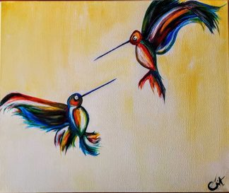 Humming birds Original painting of humming birds. Stunning art for sale in online galley. Make a house a home with stunning paintings