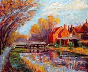 Huband bridge grand canal Original Irish painting of Huband bridge grand canal by Irish artist John Maguire. Landscape painting for sale in online gallery