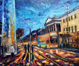 Last bus home Original Irish art by Irish artist John Maguire. Art for your home. Gift ideas, online gallery, paintings for your home