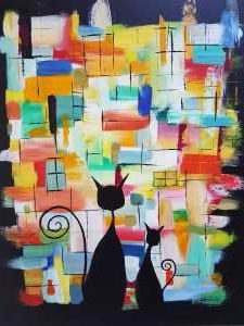 TWO CATS Original painting of two cats sitting at a window of colour. Abstract art by artist Dorota Raczynska. Online gallery with a variety of art