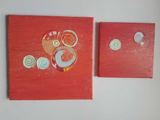 THE WHOLE WORLD CHANGED Pair of abstract paintings for sale, beautiful red tones and swirls within these pieces of original art. Online gallery