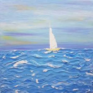 SAIL AWAY WITH ME Original acrylic seascape painting by artist Dorota Raczynska. Beautiful art for any room in your home, gift ideas etc