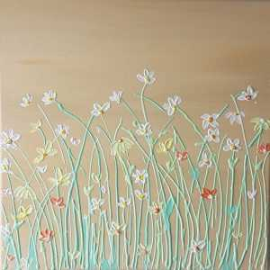 CALMING FLOWERS Original floral painting for sale by artist Dorota Raczynska. Beautiful painting of flowers for your home or a great gift idea for family