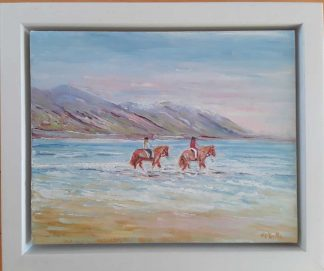 Original oil painting of two horses in the sea at Rossbeigh. Irish art by Irish artist for sale in online gallery