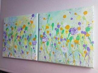 HARMONY Pair of original floral paintings for sale in online gallery, make a house a home, gift ideas, wall art by artist Dorota Raczynska