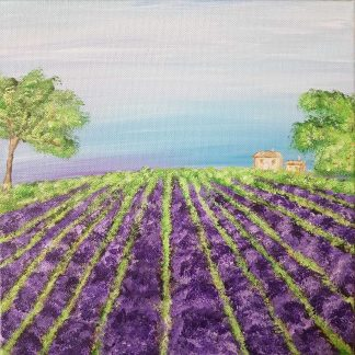 LAVENDER FIELD Original landscape painting of beautiful lavender fields. Stunning art for any wall in any room of your home
