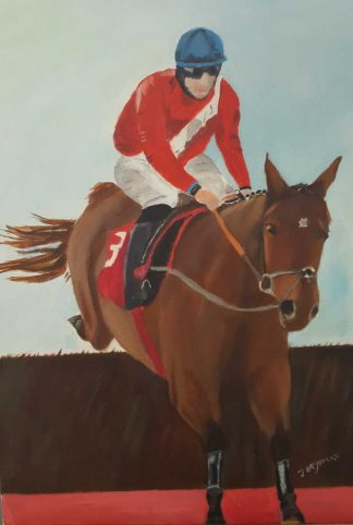 Original equine art for sale. Painting of a horse and jockey. Art for your home or would make a great gift idea