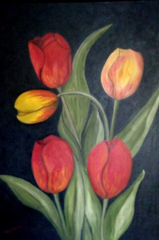 Tulips Original floral painting for sale by Irish artist Kathleen Garrett. Brighten up your home with a stunning piece of art