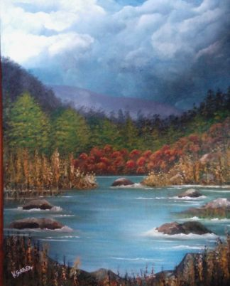 Forest Scene Original landscape painting for sale by Irish artist Kathleen Garrett. Browse a large selection of art here for your home