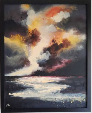 Original seascape painting with the sun setting over the sea. Stunning art for your home for sale in online gallery art4you.ie