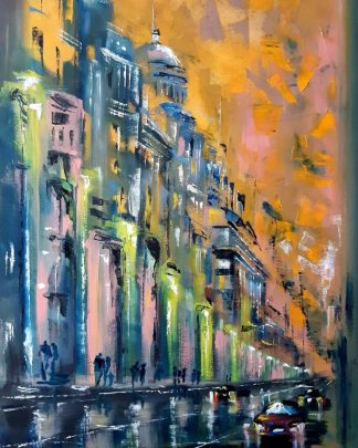 Evening Original oil painting of a street scene abstract style by artist Jelena Straiziene. Wall art for your home.