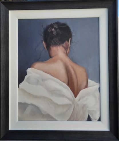 Waiting for her date Painting of a semi nude figure. Art for bedroom. Large selection of paintings for sale online gallery art4you.ie
