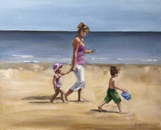 Strolling Painting of a mother and her two children walking along the sea. Gift ideas for family