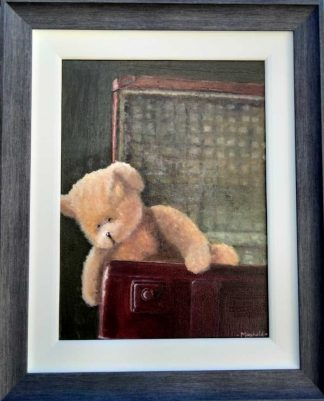 Teddy in the Suitcase Original painting of a teddy bear in a suitcase by artist Brigid Mansfield. Great gift ideas for children, grand children etc. Wall art for nursey, bedroom or playroom