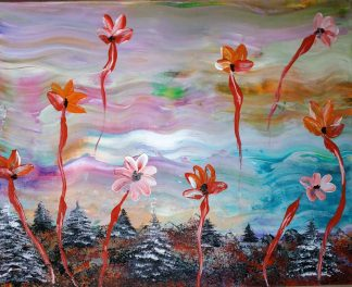 When the sun goes down Original floral painting by artist Justyna Szerszen. Stunning art for sale in online art gallery- large selection of Irish art for sale