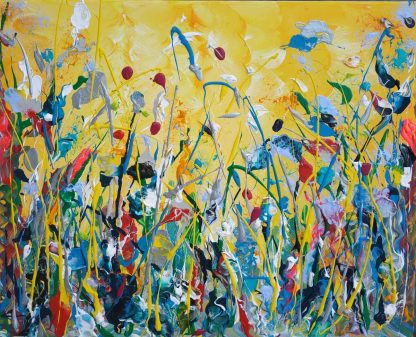 Original painting of flowers for sale in online gallery by artist Justyna Szerszen. Bright colouful art for your home