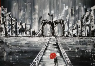 Stunning black and white painting of a couple on a bridge. Romantic art, perfect for your other half, birthday / anniversary gift ideas