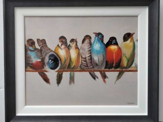 Birds Original painting of birds on a wire by artist Brigid Mansfield. Online gallery with a large selection of art for sale
