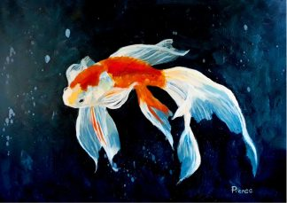 Original painting of a Koi Fish by artist Maurice Pierse. Wall art for your home or give as a gift. Fine quality art for sale