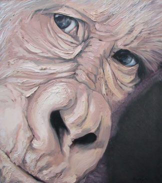 Original painting of an ape. Large piece of art work. Stunning piece of art for your home for sale in online gallery