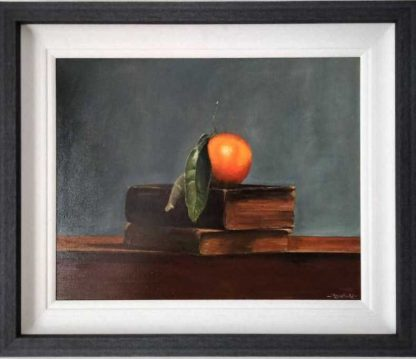 Mandarin on the old books Still life painting of Mandarins on books for sale in online gallery. Paintings for your kitchen, study, office. Art for sale