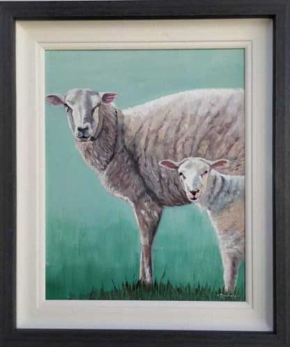 Original oil painting of a ewe and lamb for sale in online gallery by artist Brigid Mansfield. Browse a large selection of art here