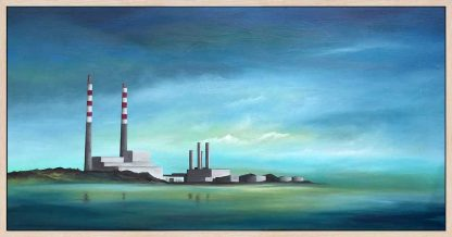 Poolbeg Chimneys The iconic Poolbeg chimney stacks, viewed from Sandymount strand on a calm, early Spring morning. Oil on board, framed in natural wood with a white painted finish and ready to hang.