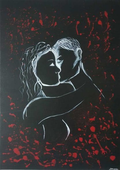 Large romantic art for sale, perfect painting for your bedroom or a gift idea for the lover in your life. Original artwork