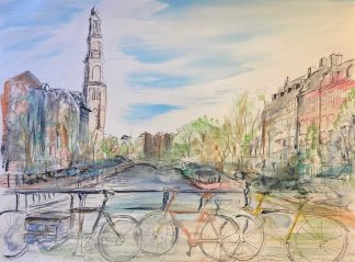 Original painting of Amsterdam. Stunning landscape art with colour an texture to bring this city to life. Art for your home. Gift ideas